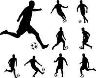 Siluette dei calciatori Fotografia Stock