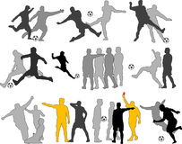 Siluette dei calciatori di vettore Fotografia Stock