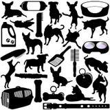 Siluette dei cani, cuccioli illustrazione di stock