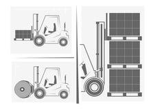 Siluette dei carrelli elevatori Merci di caricamento del carrello elevatore royalty illustrazione gratis