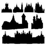 Siluette dei castelli Fotografia Stock