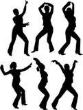 Siluette dei danzatori Immagine Stock