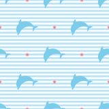 Siluette dei delfini sul modello senza cuciture di vettore del fondo a strisce Fotografia Stock Libera da Diritti
