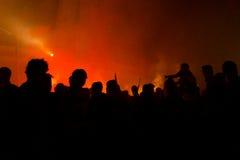 Siluette dei dimostranti fotografie stock