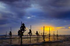 Siluette dei fishermens tradizionali del ` s dello Sri Lanka Immagine Stock Libera da Diritti