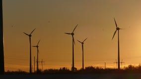 Siluette dei generatori eolici contro il cielo di tramonto video d archivio