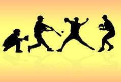Siluette dei giocatori di baseball Fotografie Stock Libere da Diritti