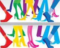 Siluette dei piedini Fotografia Stock
