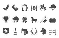 Siluette dei simboli di sport equestre Cavallo di corsa Immagini Stock