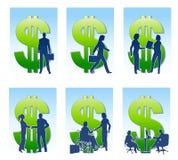 Siluette dei soldi di affari Fotografia Stock