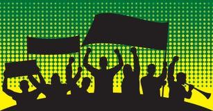 Siluette dei tifosi Fotografia Stock Libera da Diritti