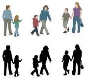 Siluette del bambino e del genitore Fotografia Stock