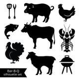 Siluette del BBQ Immagini Stock
