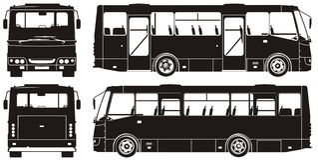 Siluette del bus della città di vettore Fotografie Stock