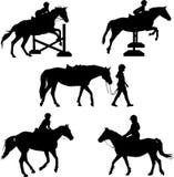 Siluette del cavallo Fotografie Stock Libere da Diritti