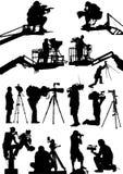 Siluette del cineoperatore Fotografia Stock
