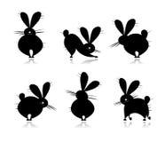 Siluette del coniglio divertente per il vostro disegno Immagine Stock