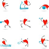 Siluette del cuore di forma fisica Fotografia Stock Libera da Diritti