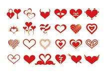 Siluette del cuore (rosse) Immagini Stock Libere da Diritti
