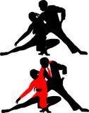 Siluette del dancing couples2 Fotografia Stock Libera da Diritti