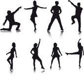 Siluette del danzatore Immagini Stock Libere da Diritti