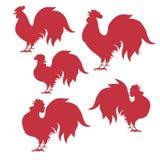 Siluette del gallo di Seth, per il nuovo anno cinese Vettore Fotografia Stock