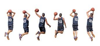 Siluette del giocatore di pallacanestro Fotografia Stock Libera da Diritti