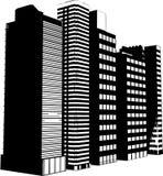 Siluette del grattacielo Immagini Stock