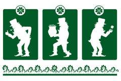 Siluette del leprechaun il giorno della st Patrick Fotografia Stock Libera da Diritti