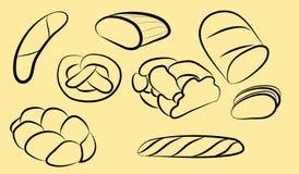 Siluette del nero del pane del rotolo della pasticceria Immagine Stock