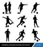 Siluette del nero di vettore dei giocatori di football americano su fondo bianco Stile semplificato grafico Siluette differenti d royalty illustrazione gratis