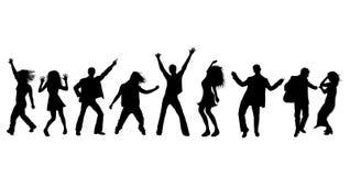 Siluette del partito di Dancing Fotografia Stock Libera da Diritti