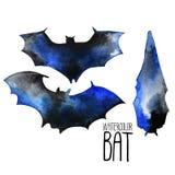 Siluette del pipistrello dell'acquerello Fotografia Stock Libera da Diritti