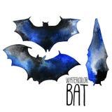 Siluette del pipistrello dell'acquerello Immagini Stock Libere da Diritti