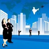 Siluette del programma della gente di affari, della città e di mondo Fotografia Stock