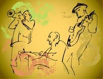 Siluette del trio di jazz sui precedenti di colore con struttura Fotografie Stock