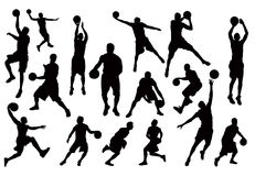 Siluette del vettore dei giocatori di pallacanestro Fotografie Stock Libere da Diritti