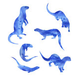 Siluette dell'acquerello di vettore di una lontra illustrazione vettoriale