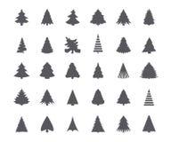 Siluette dell'albero di Natale Fotografia Stock