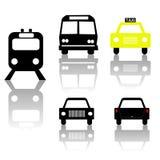 Siluette dell'automobile e del tassì del bus del treno Fotografia Stock Libera da Diritti