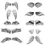 Siluette dell'illustrazione delle ali messe per la fabbricazione del vostro proprio logo, distintivo, progettazione dell'etichett illustrazione di stock