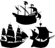 Siluette dell'imbarcazione di navigazione impostate Immagine Stock Libera da Diritti