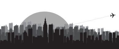 Siluette dell'orizzonte della città Immagine Stock Libera da Diritti