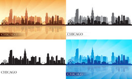 Siluette dell'orizzonte della città di Chicago messe Fotografie Stock Libere da Diritti