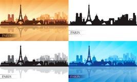 Siluette dell'orizzonte di Parigi messe Fotografie Stock Libere da Diritti