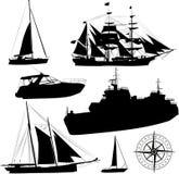 Siluette della barca Immagine Stock