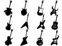Siluette della chitarra Fotografie Stock Libere da Diritti
