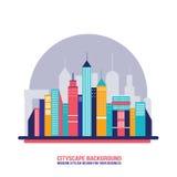 Siluette della costruzione della città del fondo di paesaggio urbano Fotografie Stock