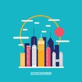Siluette della costruzione della città del fondo di paesaggio urbano Immagini Stock