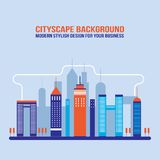 Siluette della costruzione della città del fondo di paesaggio urbano Fotografia Stock